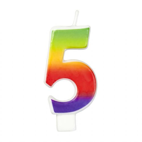 Rainbow-Colored Numeral #5 Candle